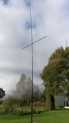 Antenna up at testing ground at PA1BX