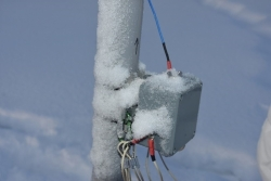 Antenna covered with ice