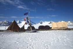 Camp with white operating tent